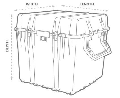 a 3D Drawing of a Peli 0370 cube case with arrows showing the width, length and depth of the case