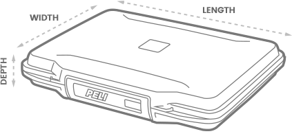 a 3D Drawing of a Peli 1070cc laptop case with arrows showing the width, length and depth of the case