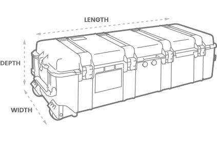 a 3D Drawing of a Peli 1740 long case with arrows showing the width, length and depth of the case
