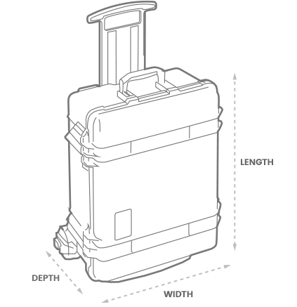 a 3D Drawing of a Peli 1610m mobility case with arrows showing the width, length and depth of the case