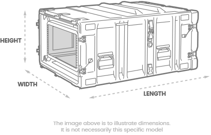 a 3D Drawing of a peli hardigg classic v 4u rack mount case with arrows showing the width, length and depth of the case