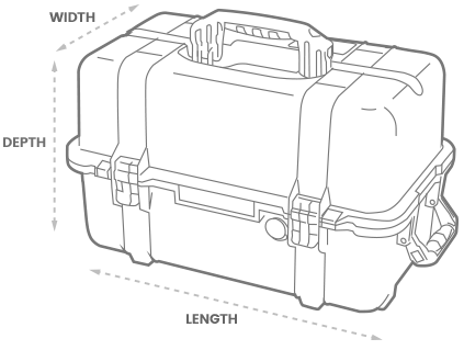a 3D Drawing of a Peli 1460 Case with arrows showing the width, length and depth of the case