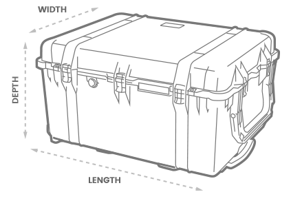 a 3D Drawing of a Peli 1660 case with arrows showing the width, length and depth of the case