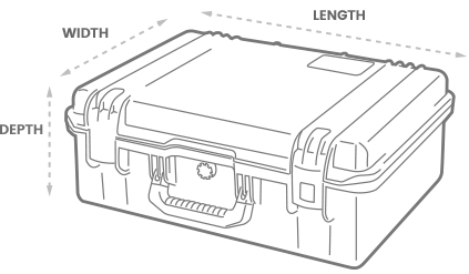 a 3D Drawing of a Peli 1610 case with arrows showing the width, length and depth of the case