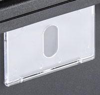 close up of an empty business card holder on the side of a peli air 1465