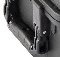 close up of the black peli air 1465 cases rubber over-molded handle