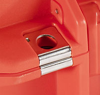close up of an orange peli air 1465ems case Stainless Steel Hasp Protectors