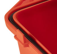 close up of an orange Peli air 1465ems case watertight o-ring seal in