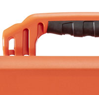 close up of an orange peli air 1465ems case Rubber Overmoulded Handles