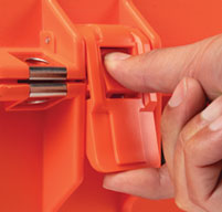 close up of an orange peli air 1465ems case Easy-to-open Press and Pull Latches