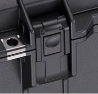 a close up of a peli air 1615 cases Proven Tough Double-Throw Latches