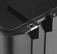 a close up of a peli air 1615 cases Stainless Steel Hasp Protectors