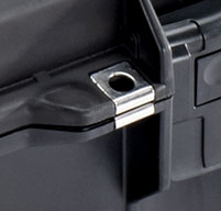 close up of a black peli air 1465 cases Stainless Steel Hasp Protectors