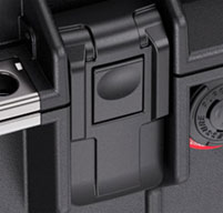a close up of a peli air 1605 cases Proven Tough Double-Throw Latches