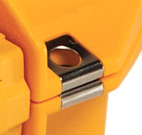 a close up of a peli air 1605 cases Stainless Steel Hasp Protectors
