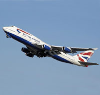 British airways airplane flying through blue sky