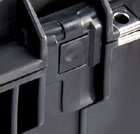 close up of a black peli air 1465 cases Press and Pull latches