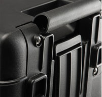 a close up of a peli air 1615 cases Retractable Extension Handle