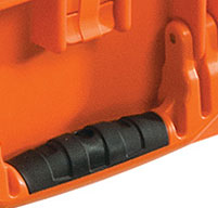 a close up of a peli air 1605 cases Rubber Overmoulded Handle