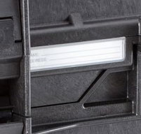 close up of the explorer 5140 tool cases Writable Name Tag