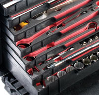 close up of the peli 0450 mobile tool chest Optional drawers