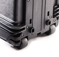 close up of the peli 0450 mobile tool chest Stable, wide track mobility