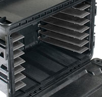 close up of the peli 0450ND mobile tool chest drawer glides for deep & shallow drawers