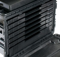 close up of the peli 0450WD mobile tool chest 6 shallow drawers, 1 deep drawer, 1 top tray