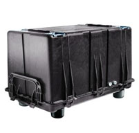 side view of a peli 0500 transport case to show it can be inverted and used as a pallet with an airtight cover