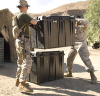 Two members of the military moving a peli 0550 transport case