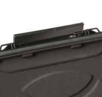 close up of the easy open latch on a black peli 1070cc laptop case