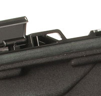 close up shot of the black Peli 1070cc laptop case lockable hasps