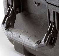 Close up of grey peli cases over-molded rubber handle