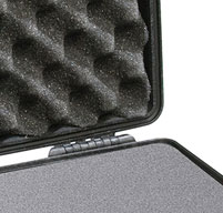 a close up of a black Peli 1470 laptop cases optional Pick N Pluck with convoluted lid foam
