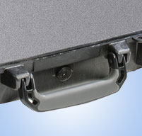 a close up of a peli 1490 laptop cases Comfortable rubber over-molded handle