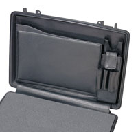 a close up of a peli 1490cc2 laptop cases lid organiser and shoulder strap