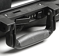 a close up of a peli 1495cc2 laptop case fold down overmolded handle