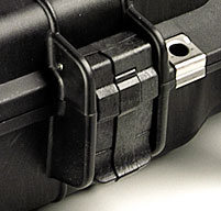 a close up of a 1495cc2 laptop case easy open double throw latches