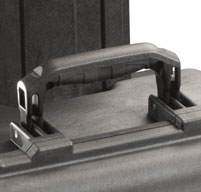 close up of the black peli 1560 cases rubber over-molded handle