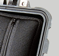close up of o'ring seal on the inside of a peli 1510sc studio case in black