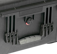close up of Peli 1640 transport Case Fold down handles