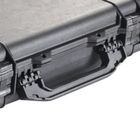 Close up of peli 1750 long cases Fold down side handle