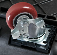 close up of peli 0340 cube cases Stainless steel caster wheels