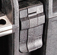 close up of Peli 1610 Case Easy-open double throw latches