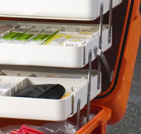 Close up of Peli 1460ems case sharps storage brackets with medical equipment stored inside