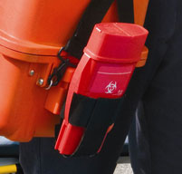 Close up of an orange Peli 1460ems case with a lockable compartment for controlled substances