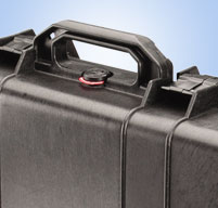 Close up of peli 1700 long cases Fold down side handle