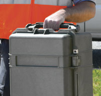 a close up of a peli 1740 long cases Two rugged double-wide handles