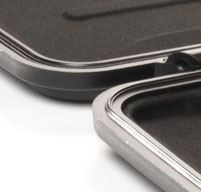 close up of black peli case with rubber o-ring seal