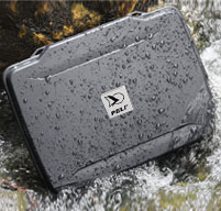 Black Peli case in water outside to show its waterproof, dustproof and crushproof
